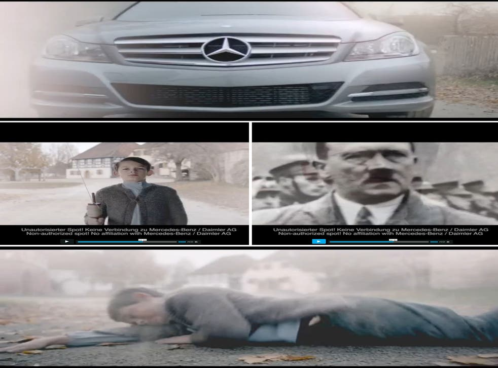 The spoof advert features a Mercedes C-class car driving through an Austrian village in 1890 and hitting a boy, seemingly a young Hitler