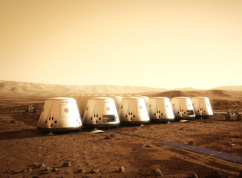 Artist's rendition of a settlement on Mars