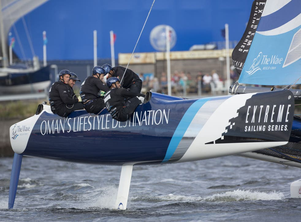 Defending champion The Wave Muscat, skippered by British Olympian Leigh McMillan (far left) is back in the lead overall after winning the Cardiff leg of the Extreme Sailing Series