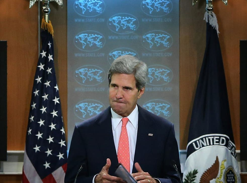 Kerry delivering a statement about the use of chemical weapons in Syria