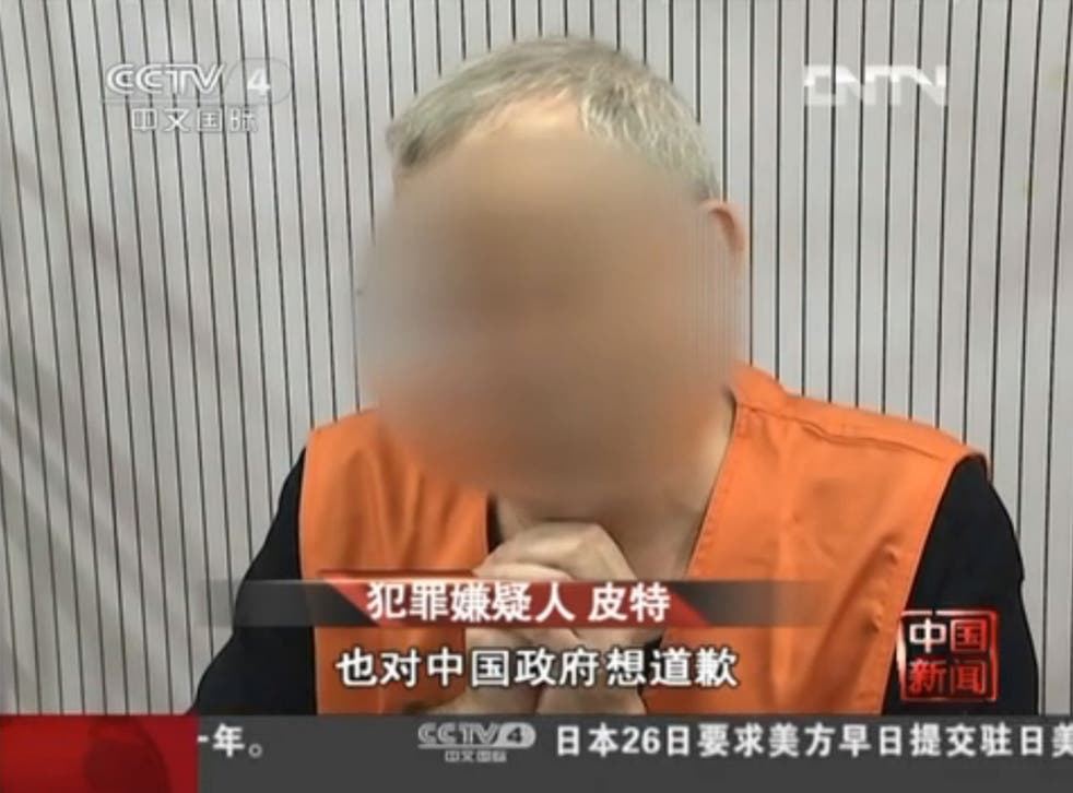 Police footage released on Chinese state television reportedly showed Peter Humphreys confessing and apologising
