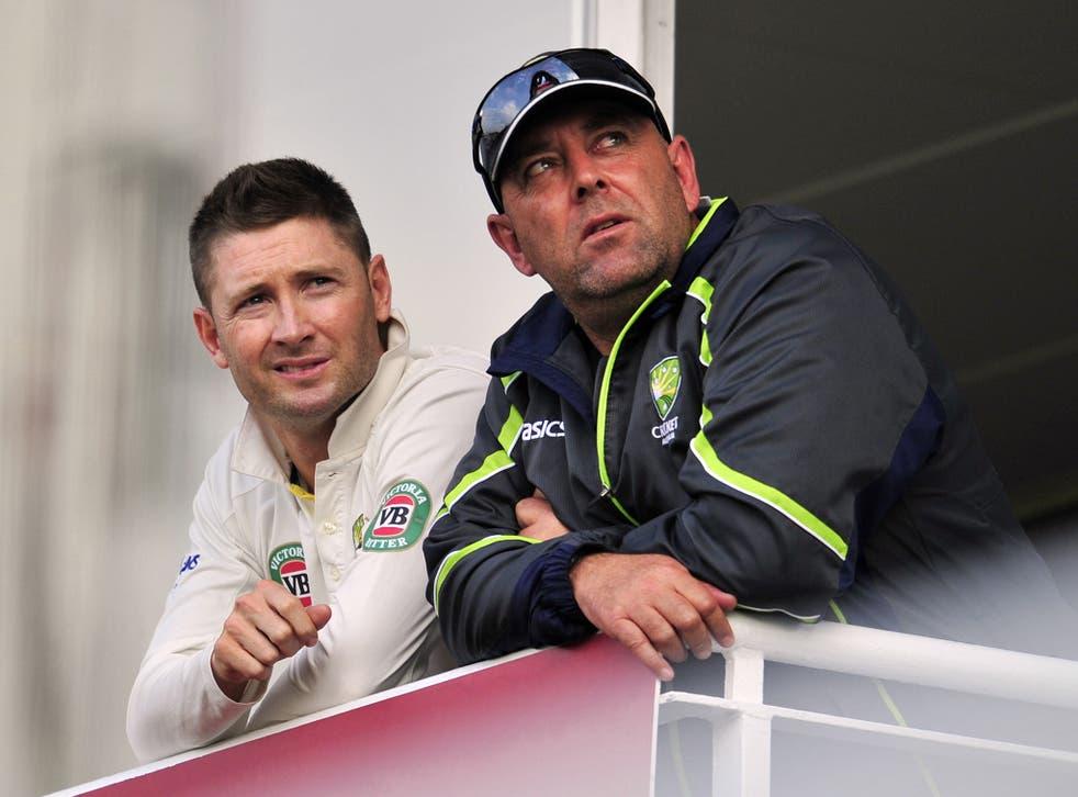 Australia captain Michael Clarke (L) and coach Darren Lehmann