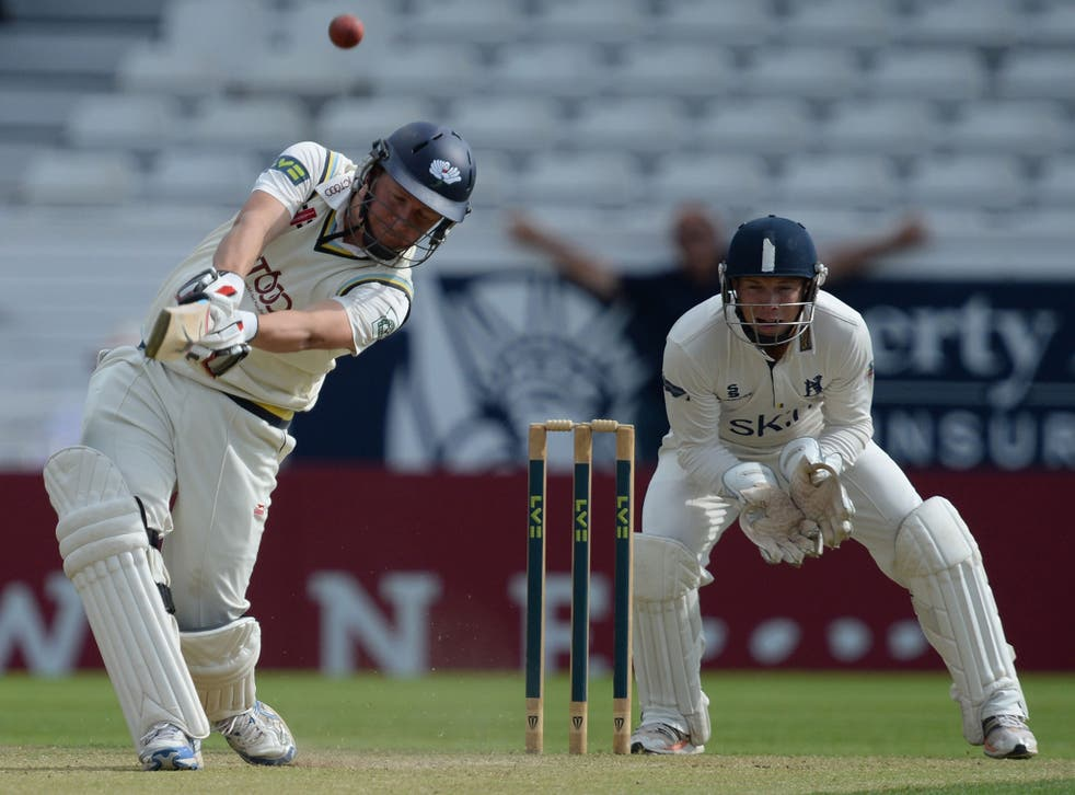 Gary Ballance smashes a six to complete a century for Yorkshire against Warwickshire earlier this month