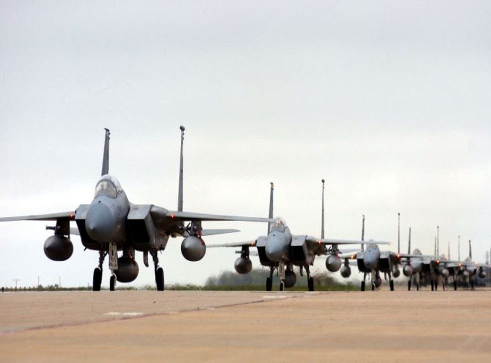 A picture downloaded from the US air force website shows F-15 Eagles from the 94th Fighter Squadron returning to the US Langley Air Force base on April 8, 2003 after a four-month deployment in Turkey supporting Operation Northern Watch. The United States