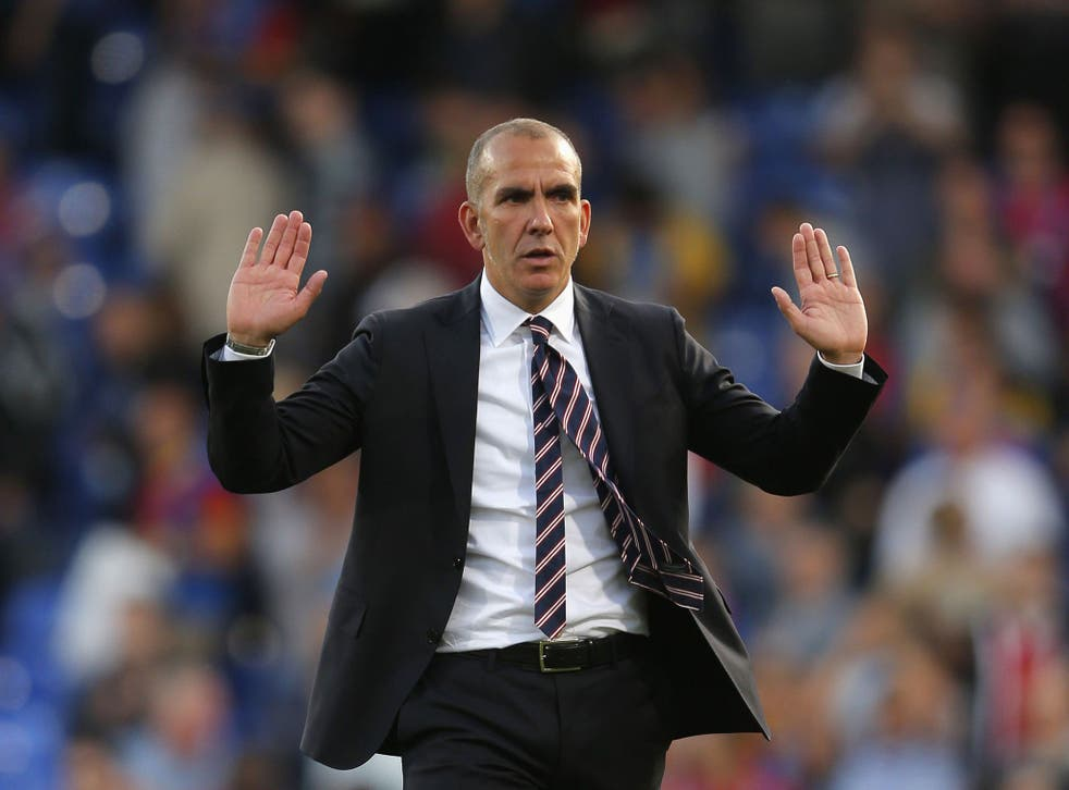 Paolo Di Canio gestures to Sunderland fans after his side's capitulation at Crystal Palace