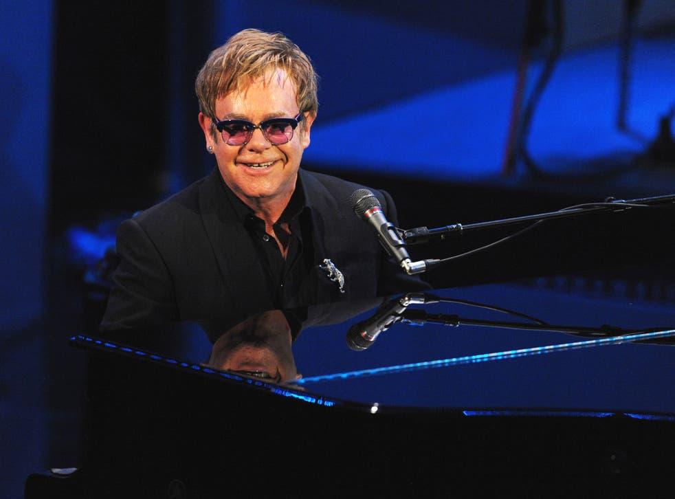Elton John performing at his 'Brits Icon' concert at The Palladium in London