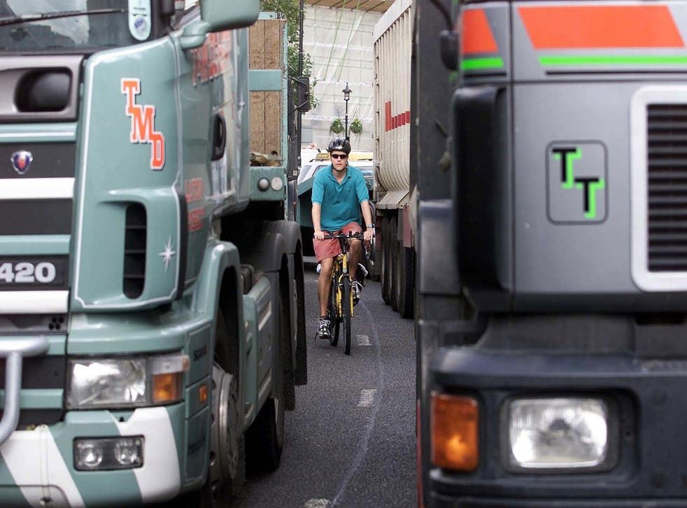 Between 2008 and 2012 lorries were involved in 53 per cent of London cyclist deaths