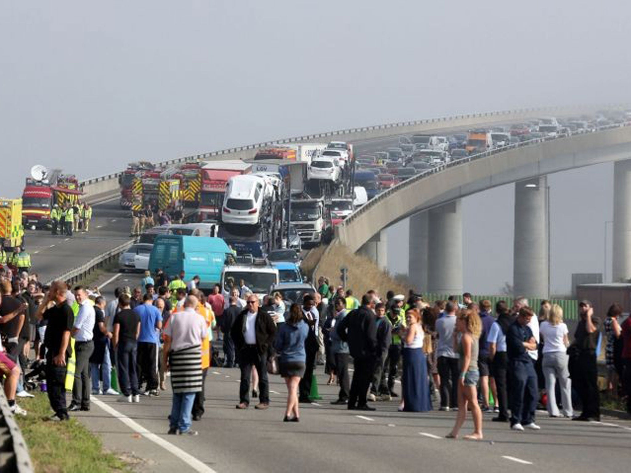 'It is truly miraculous no one was killed': 130 vehicles, 200 hurt, a nine-hour delay - the mother of all rush-hour pile-ups at Kent's Sheppey Crossing
