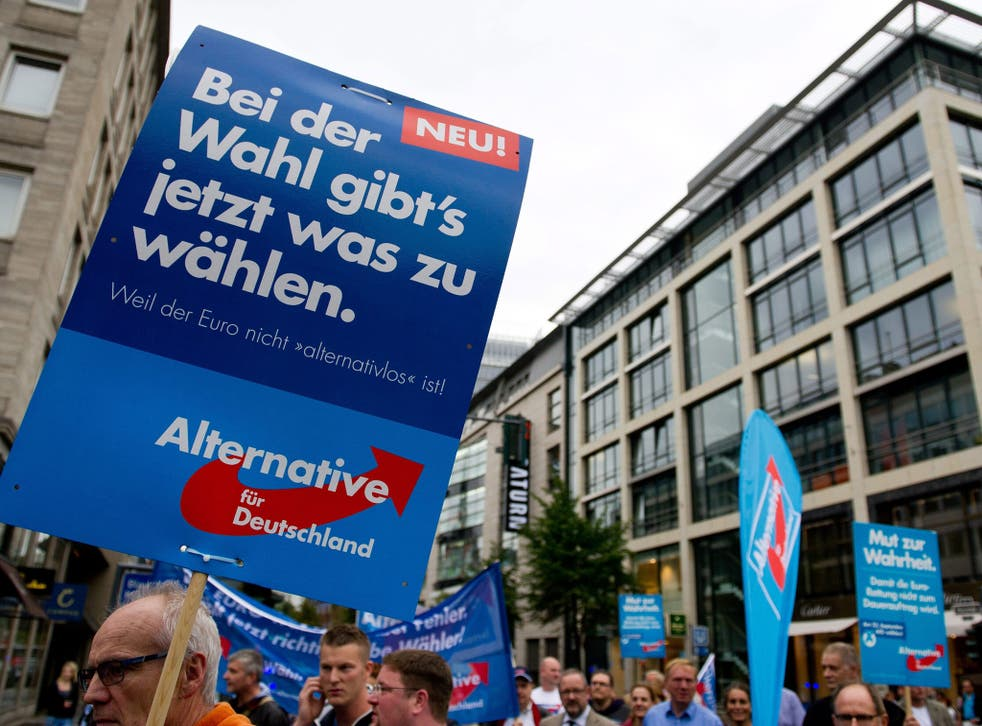 Alternative for Germany (AfD) has held protest marches as part of its election campaign