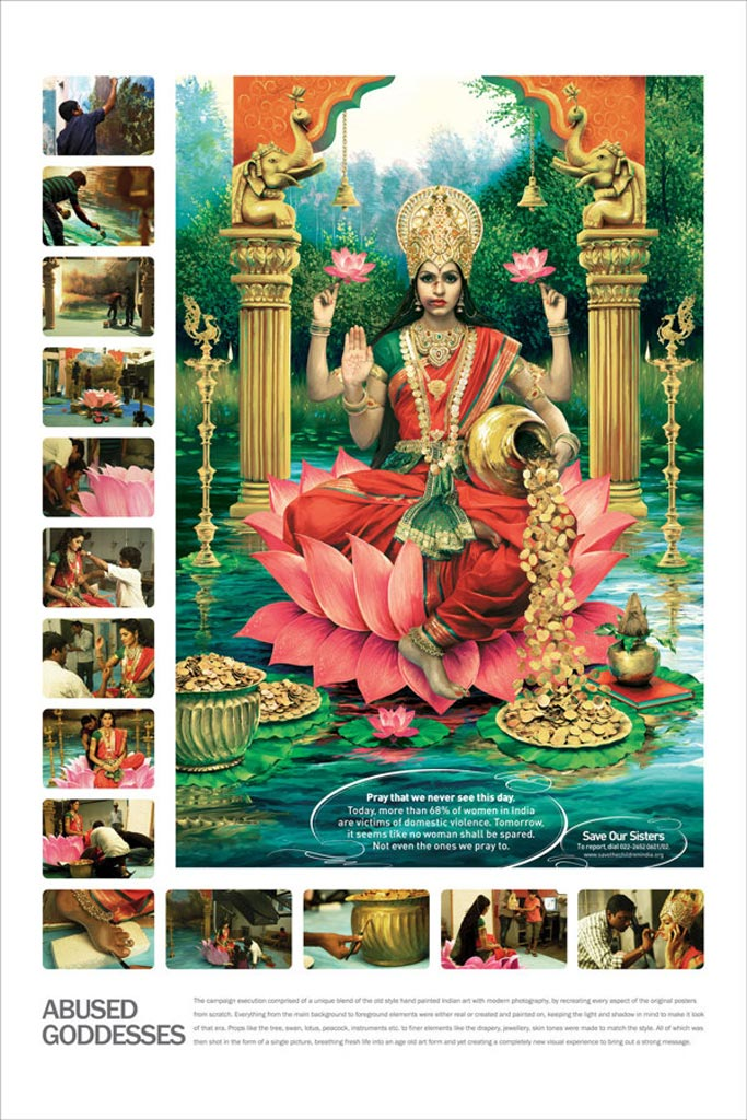 Shocking images depict Hindu goddesses as victims of abuse