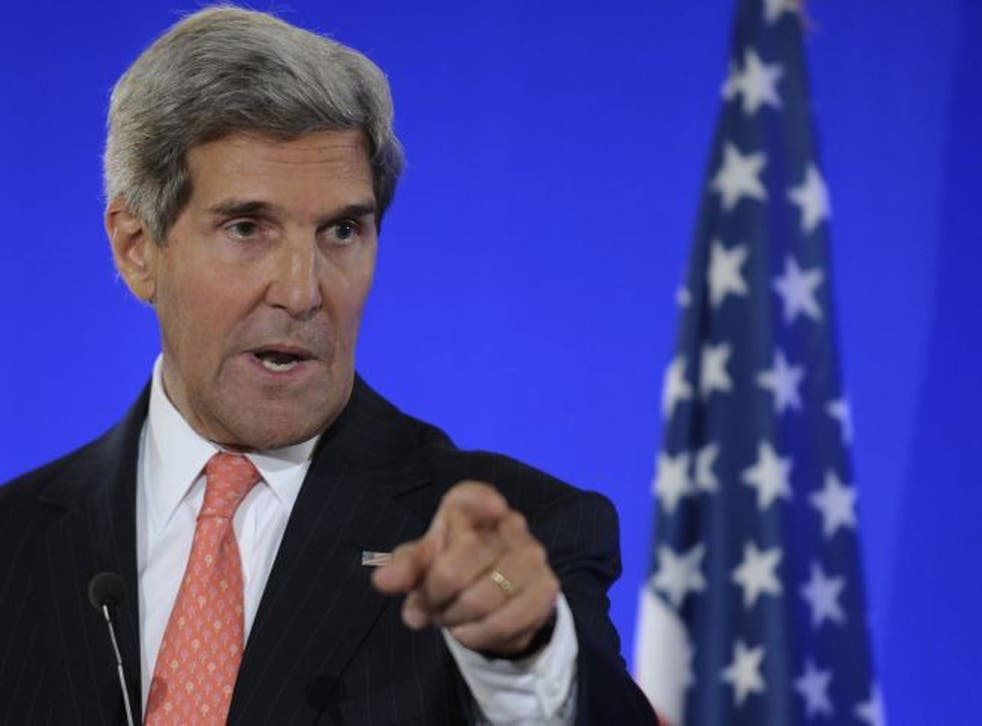 Secretary of State John Kerry speaks at joint press conference with French Foreign Minister Laurent Fabius at the Ministry of Foreign Affairs in Paris, Saturday, 7 September