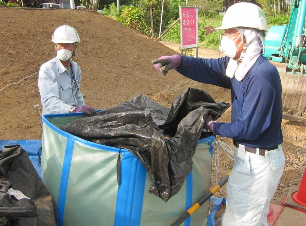 A decontamination crew in Minamisoma