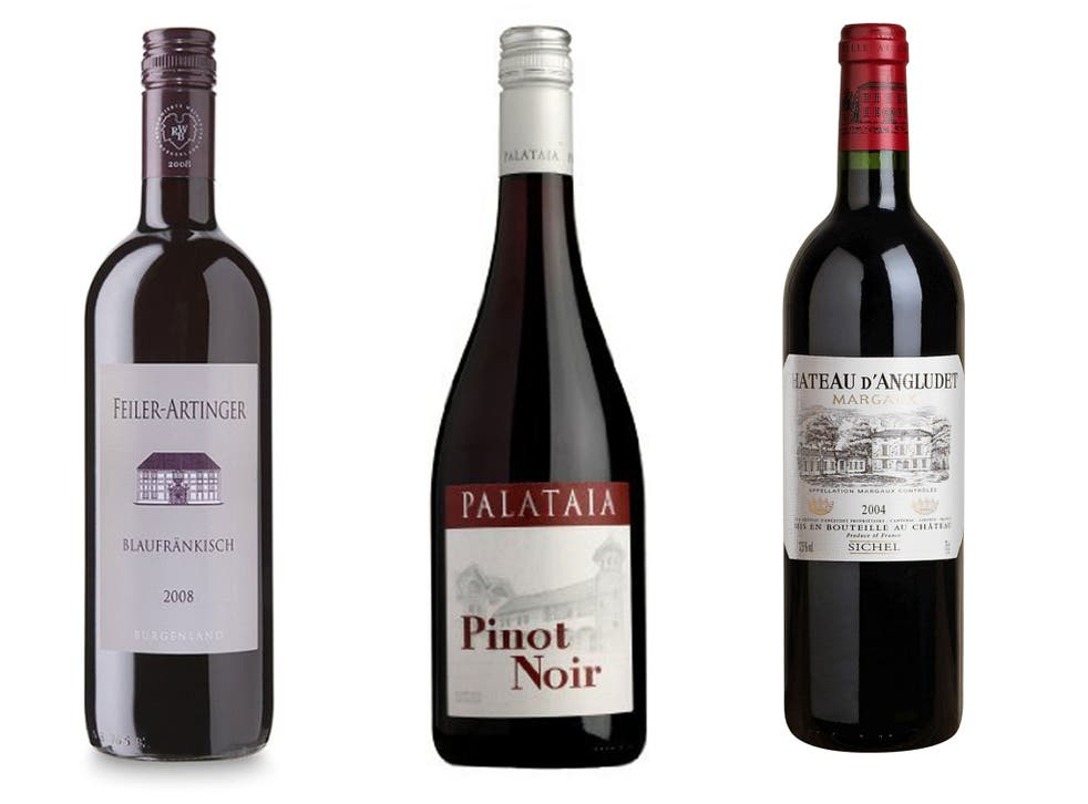 2010 Feiler-Artinger Blaufränkisch, Burgenland; 2012 Palataia Pinot Noir, Pfalz; 2004 Château d'Angludet