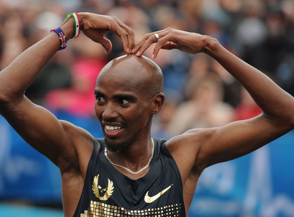 Mo Farah reacts after finishing second