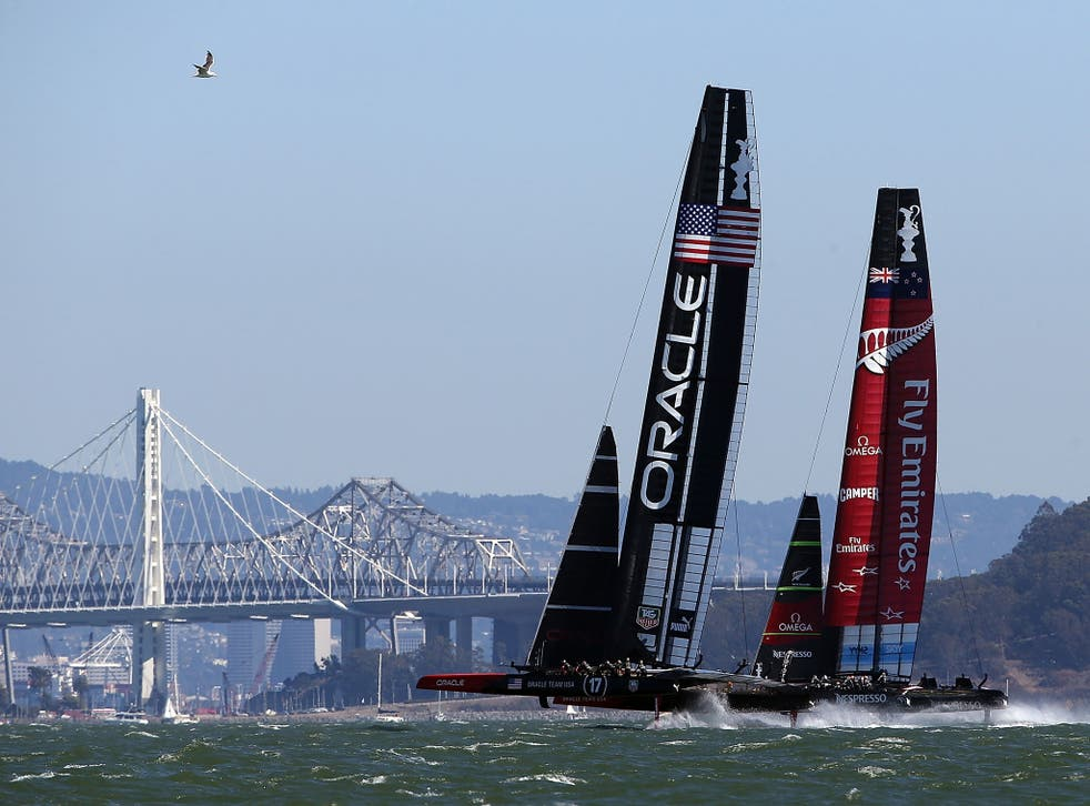 Oracle Team USA takes practice before the start of race ten of the America's Cup finals against Emirates Team New Zealand