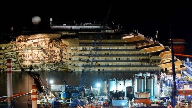 The wreck of Italy's Costa Concordia cruise ship has emerged from the sea off the Italian island of Giglio