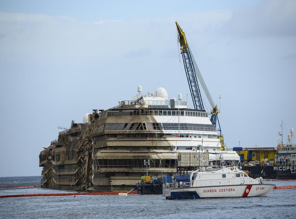 The Costa Concordia as it was raised last week