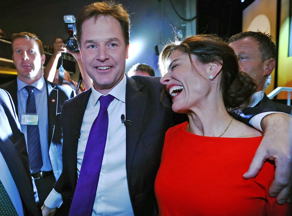 Nick Clegg leaves the Liberal Democrat conference in Glasgow with wife Miriam Gonzalez Durantez