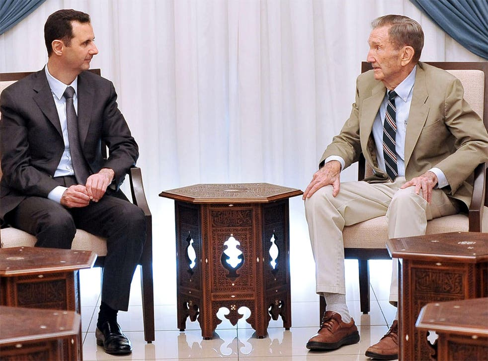 President Assad meets the former US Attorney General Ramsey Clark in Damascus, who is heading a US delegation to Syria
