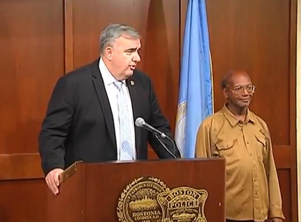 Boston Police Commissioner Edward Davis, left, with Glen James