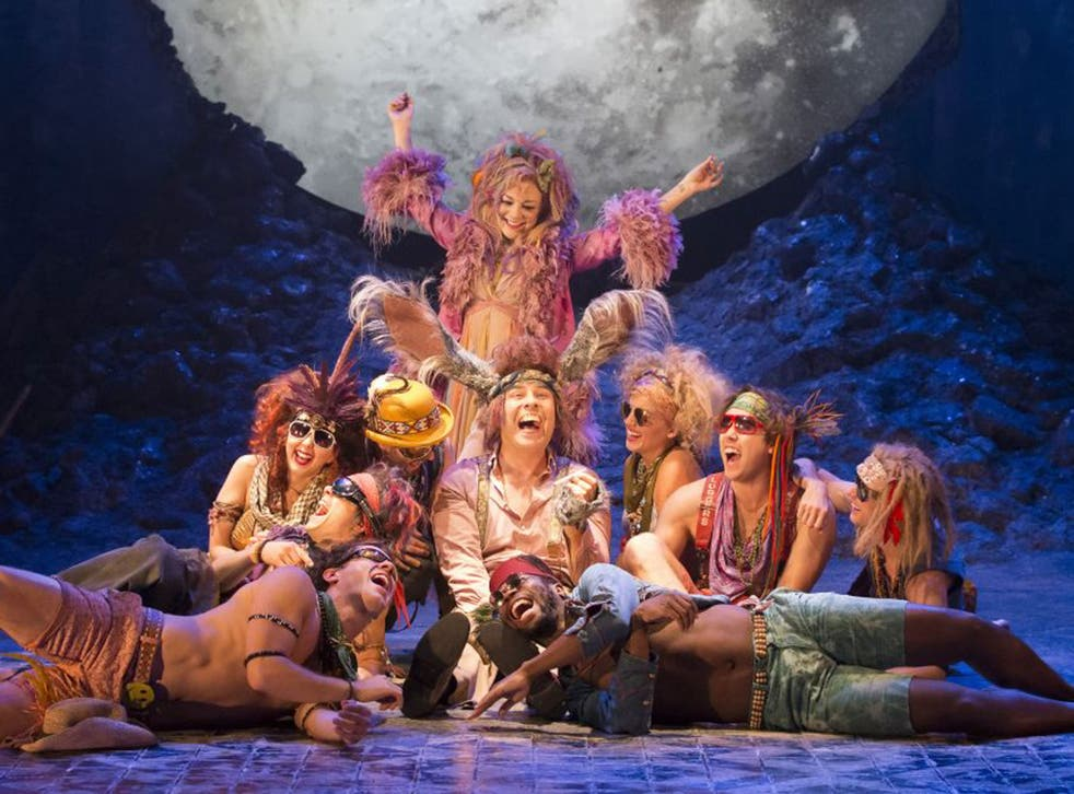 Sheridan Smith (top), David Walliams (centre) and the company during the production of William Shakespeare's 'A Midsummer Nightís Dream' at the Noel Coward Theatre in London