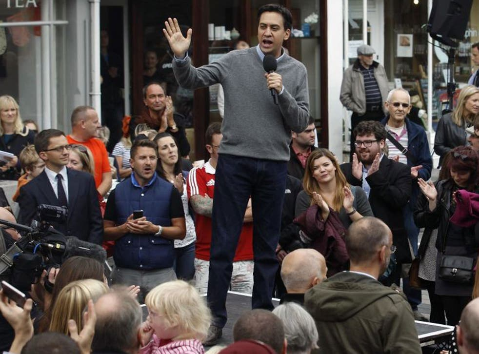 Ed Miliband addresses a crowd in Brighton