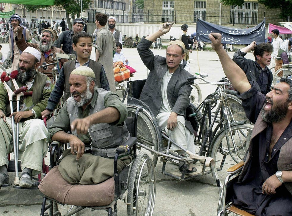 A demonstration from May 2004, called to highlight the plight of the many thousands of Afghans disabled during more than two decades of war
