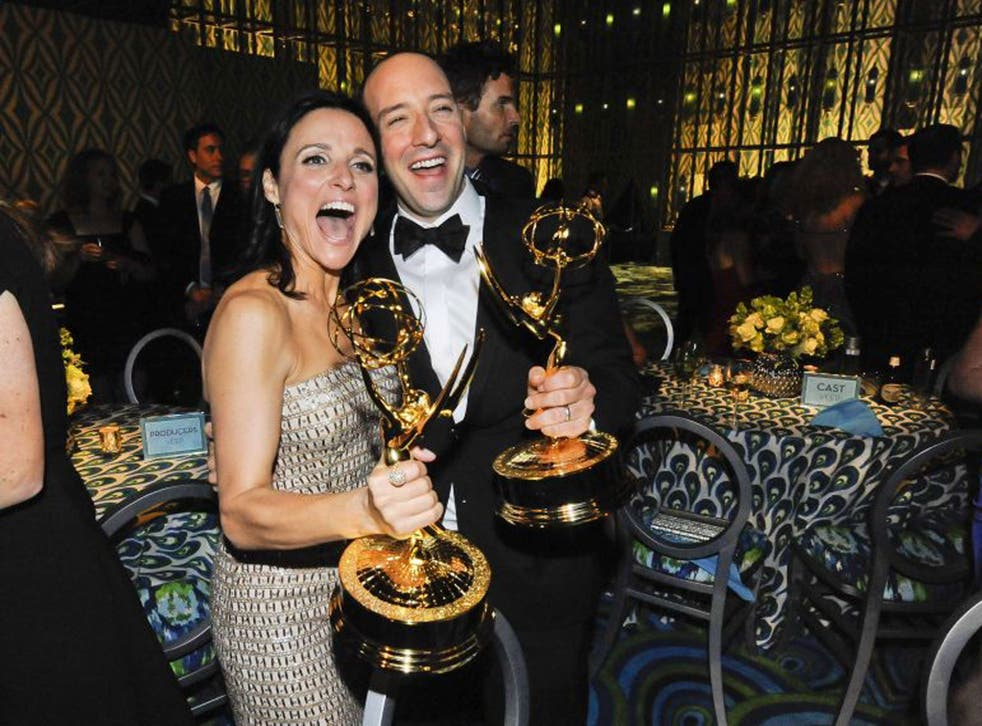 Julia Louis-Dreyfuss and Tony Hale celebrate their awards at the 65th Edition of the Emmys
