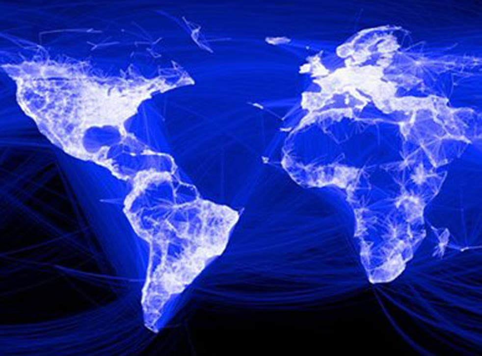 An illustration from Facebook showing the social networks global links. Each blue line represents a friendship.