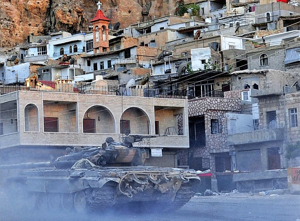 A Syrian army tank during the operation to retake Maaloula earlier this month