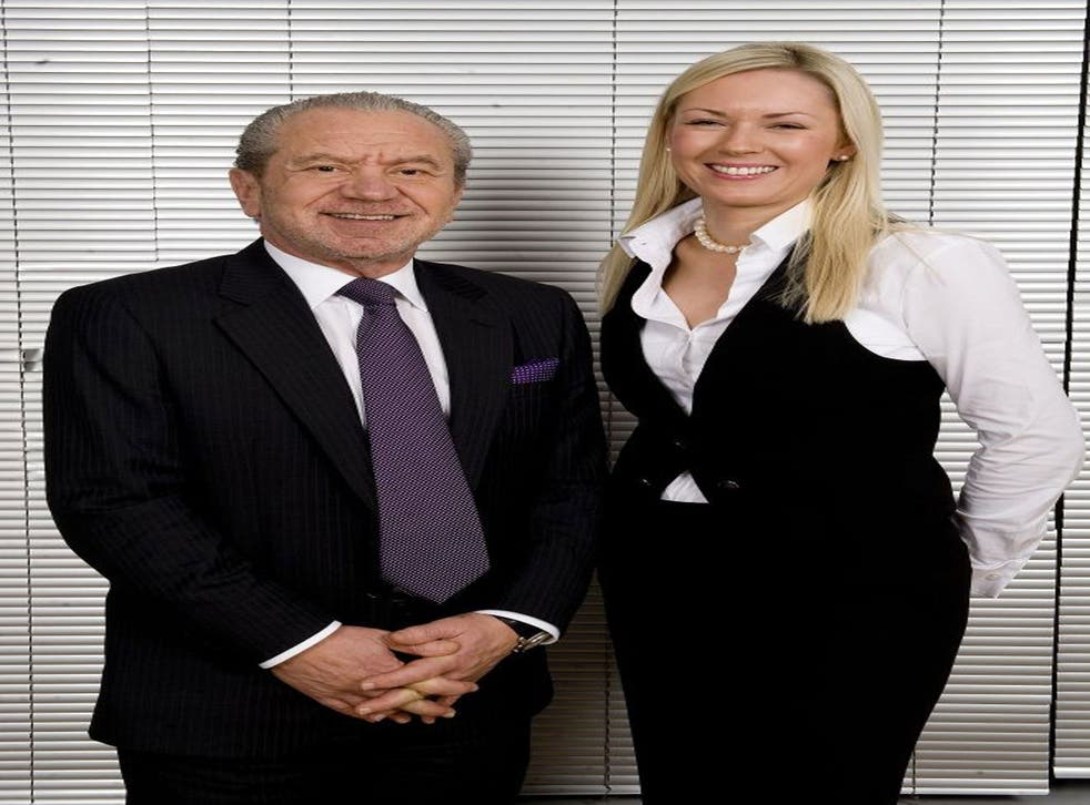 File photo: Lord Sugar and Apprentice winner Stella English, before the employment tribunal process which 'left Ms English an unemployed, single parent'