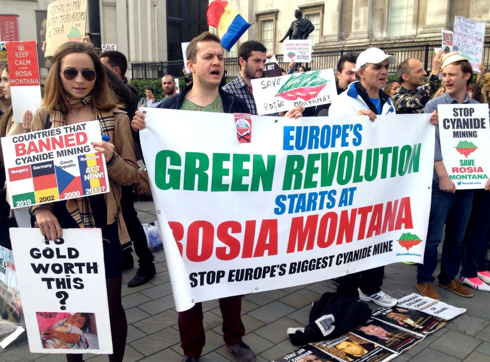 Protesters gathered in Trafalgar Square to speak out agains the use of cyanide in a Romanian mining project