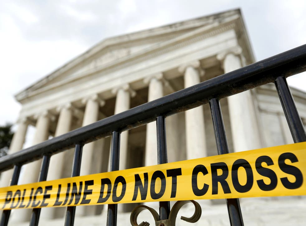 The entry to the Jefferson Memorial is closed off in Washington