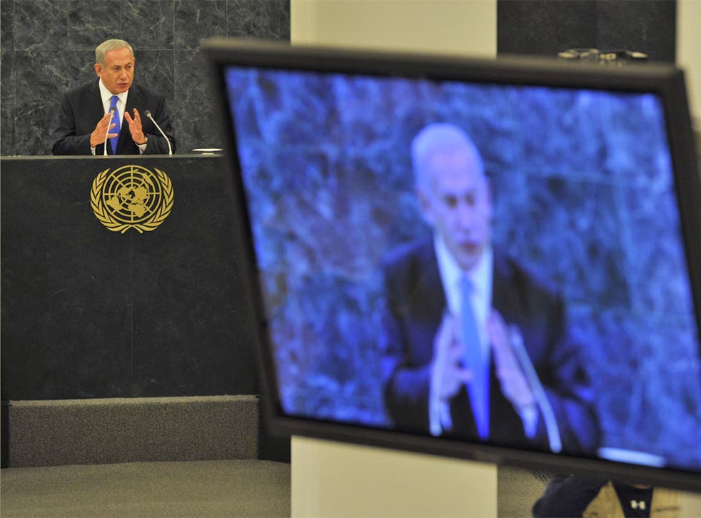 Benjamin Netanyahu speaks at the United Nations General Assembly