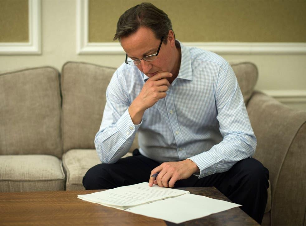 David Cameron prepares the speech for his keynote address