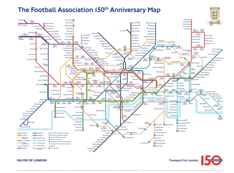 The altered Tube map to commemorate the 150th anniversary of the Football Association and the London Underground