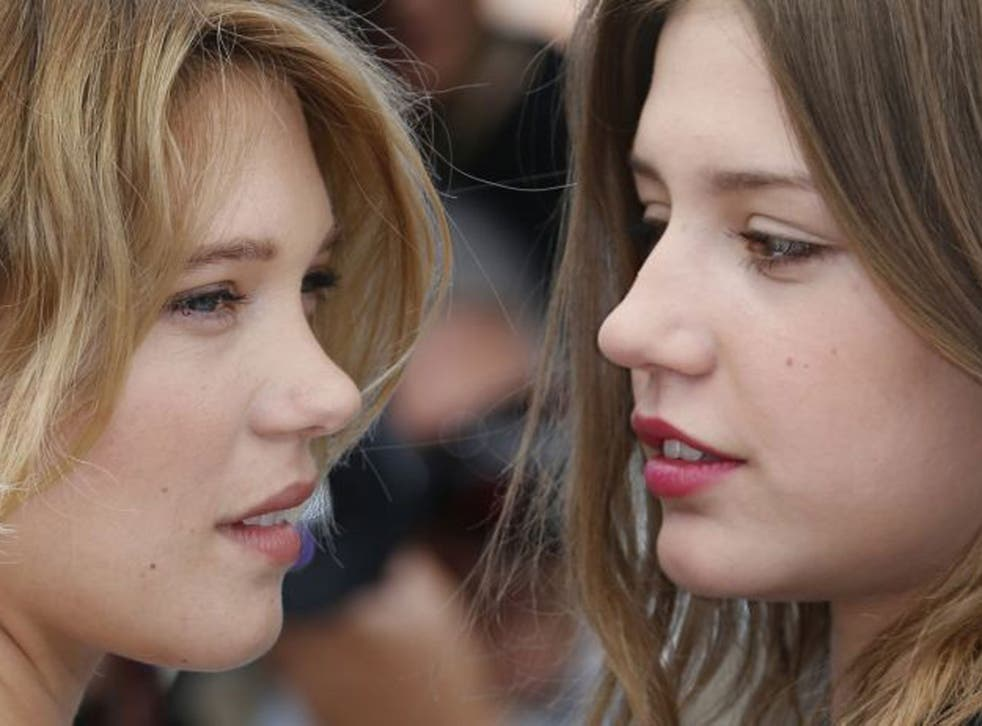 """Lea Seydoux (left) and Adele Exarchopoulos at a photocall for the film """"Blue is the Warmest Colour"""""""