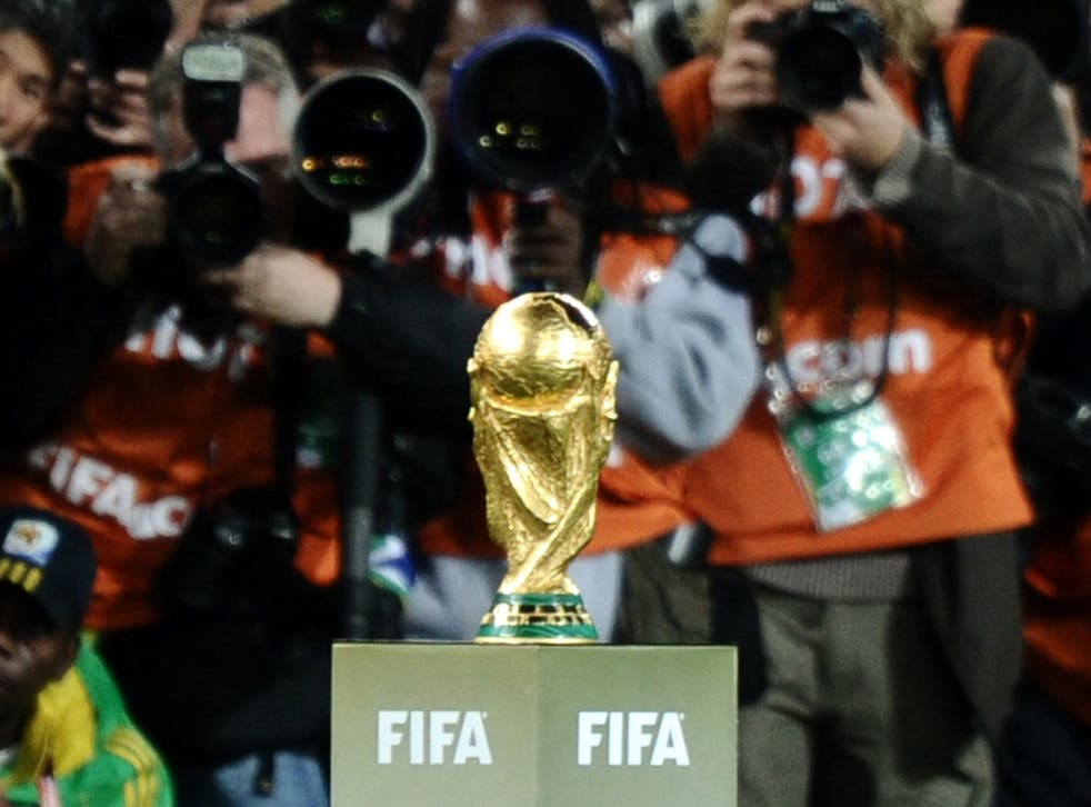 A view of the World Cup trophy