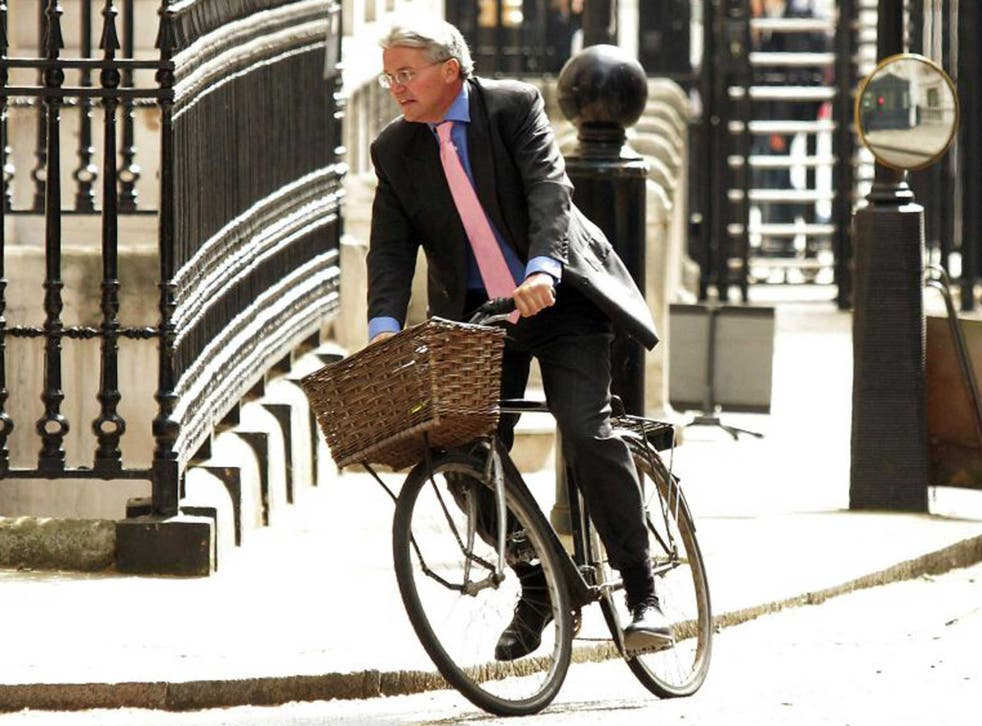Andrew Mitchell, riding his bike that was part of the original cause of the 'Plebgate' affair