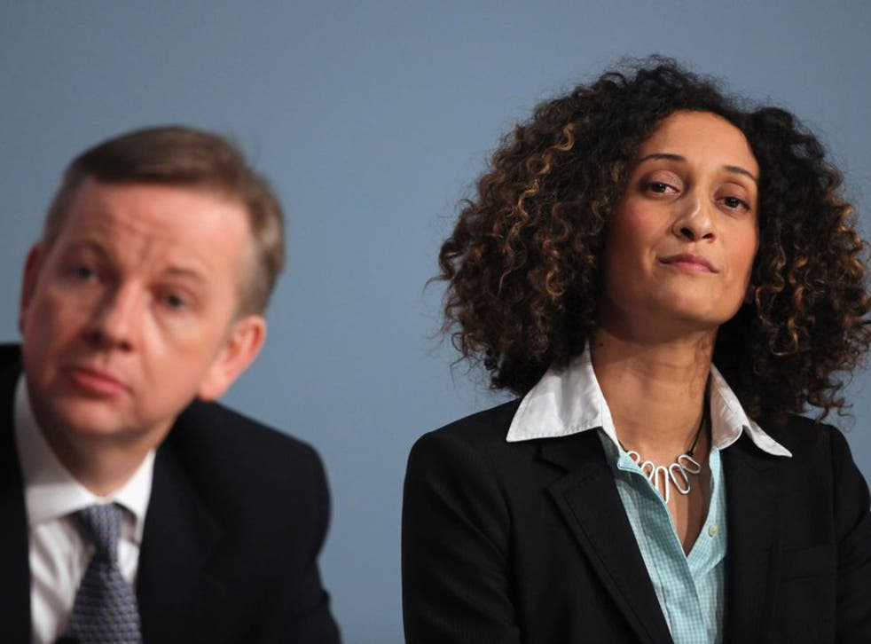 Katherine Birbalsingh with the Education Secretary Michael Gove at the 2010 Conservative conference