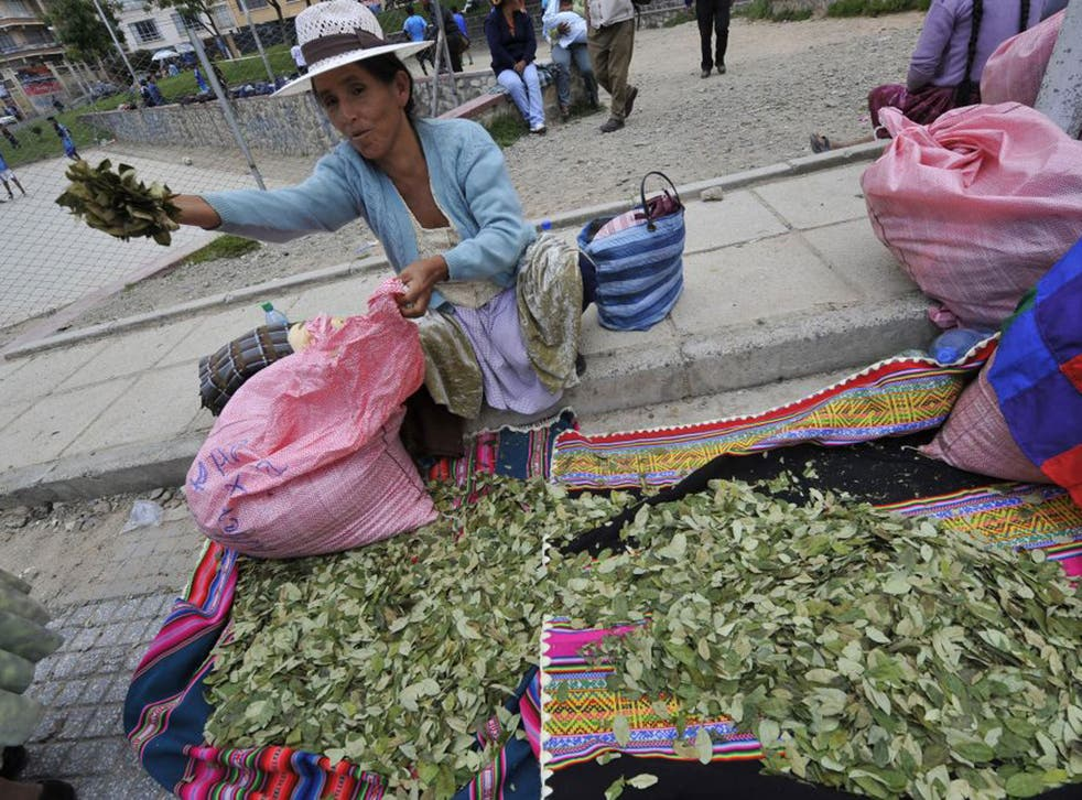 A woman sells coca leaves in La Paz, Bolivia, where the plant has traditionally had medicinal purposes