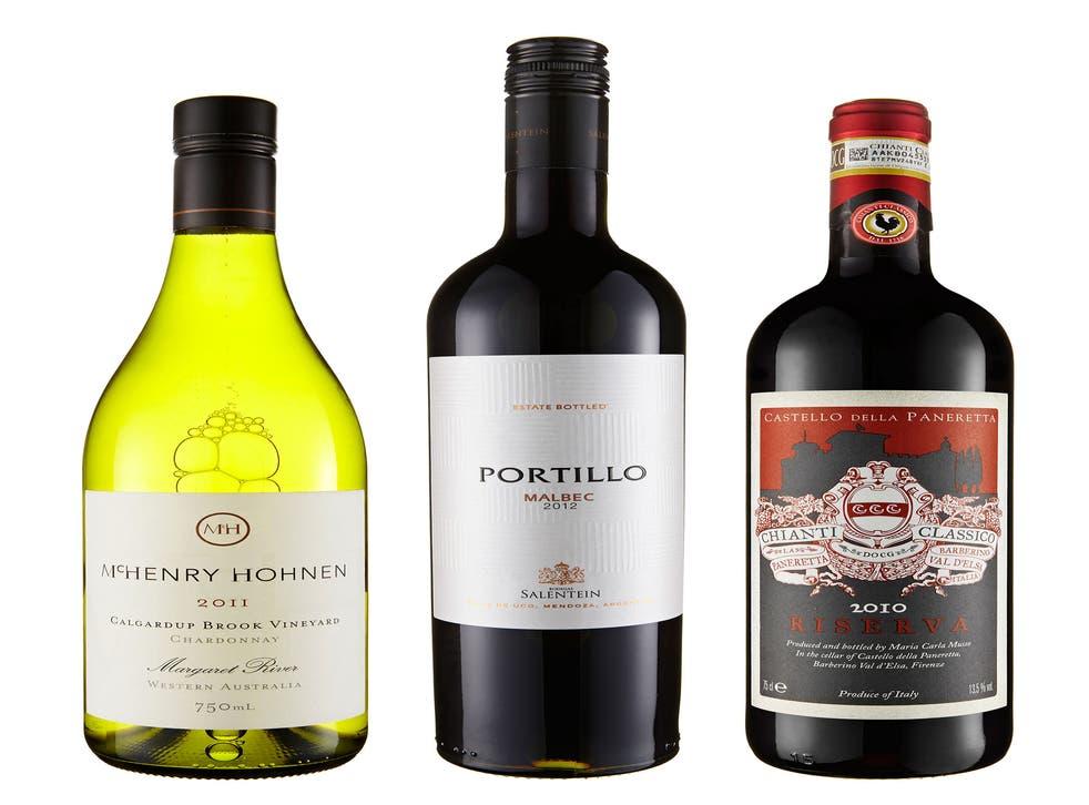 2011 McHenry Hohnen Calgardup Chardonnay Margaret River; 2012 Portillo Malbec; 2010 Castello della Paneretta Chianti Classico Riserva