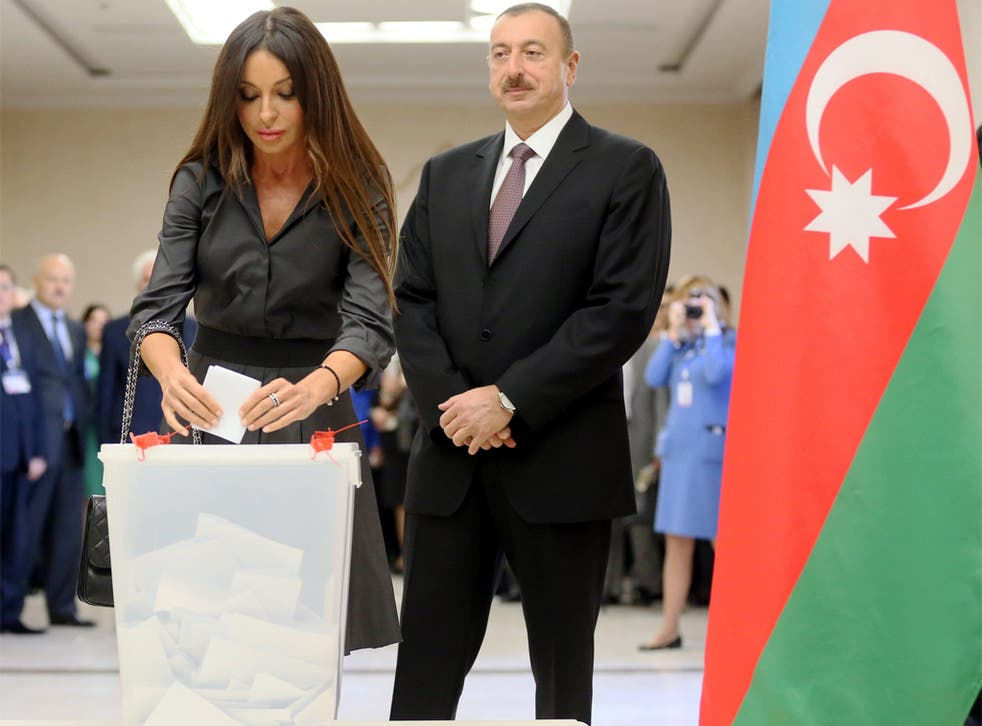 President Ilham Aliyev with his wife Mehriban at the polls