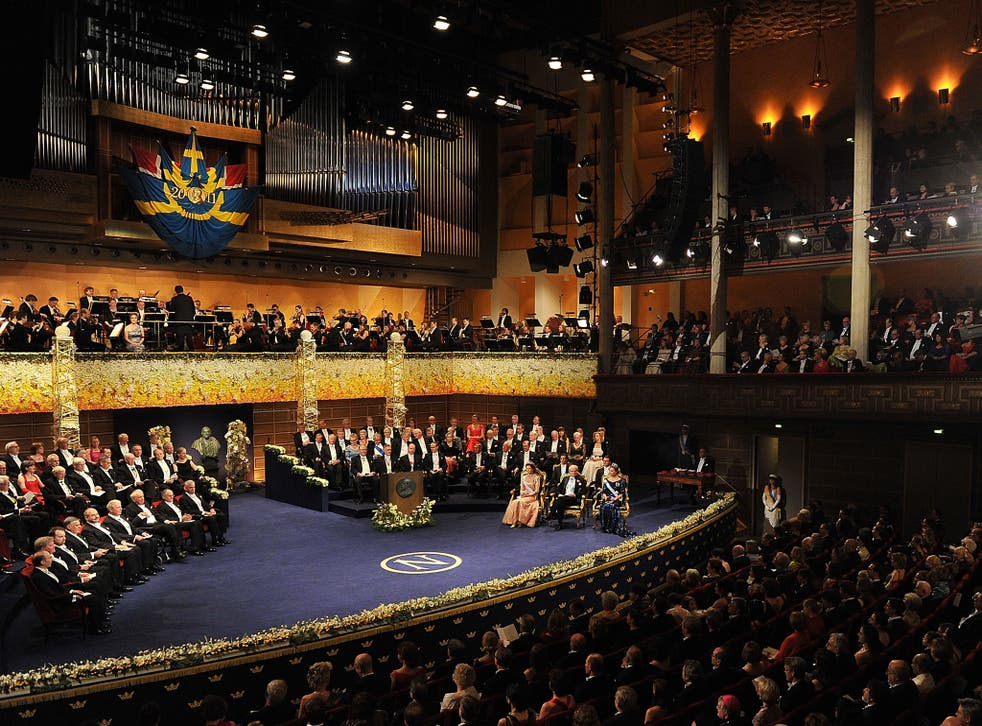 A general view of the Nobel Prize Award Ceremony at Stockholm Concert Hall on December 10, 2011