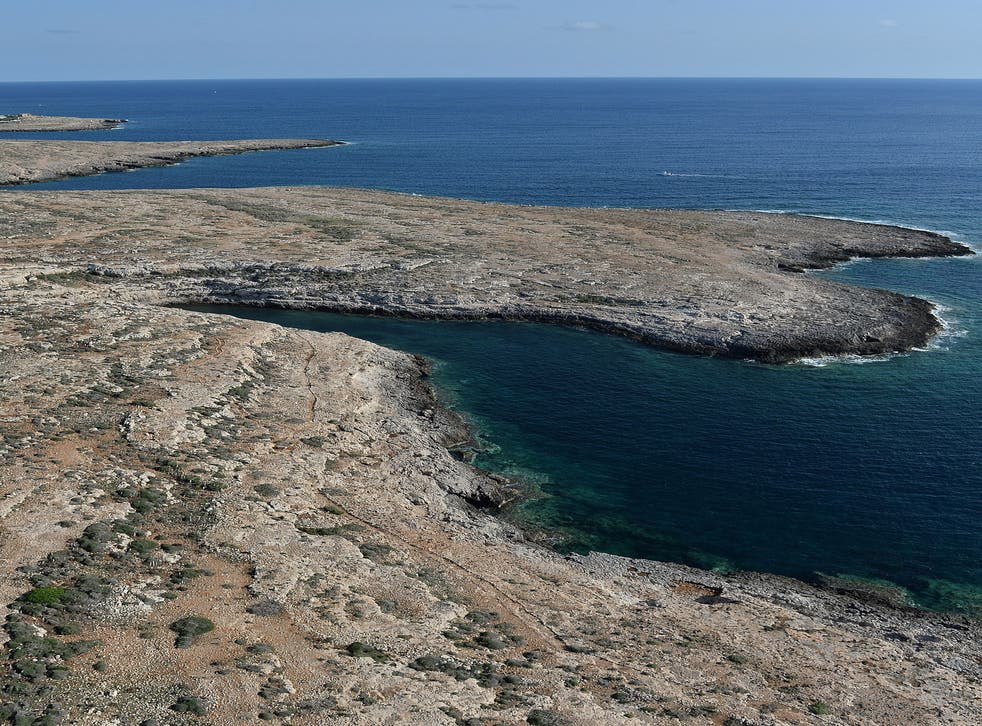 A section of the coast of the Italian island of Lampedusa where searches are being carried out
