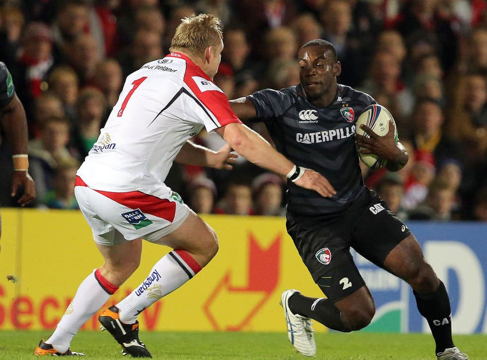 Leicester's Miles Benjamin hands off Tom Court