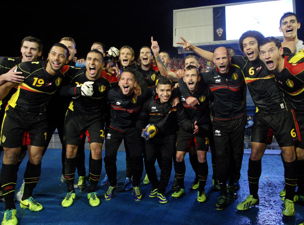 Belgium's players celebrate their victory against Croatia
