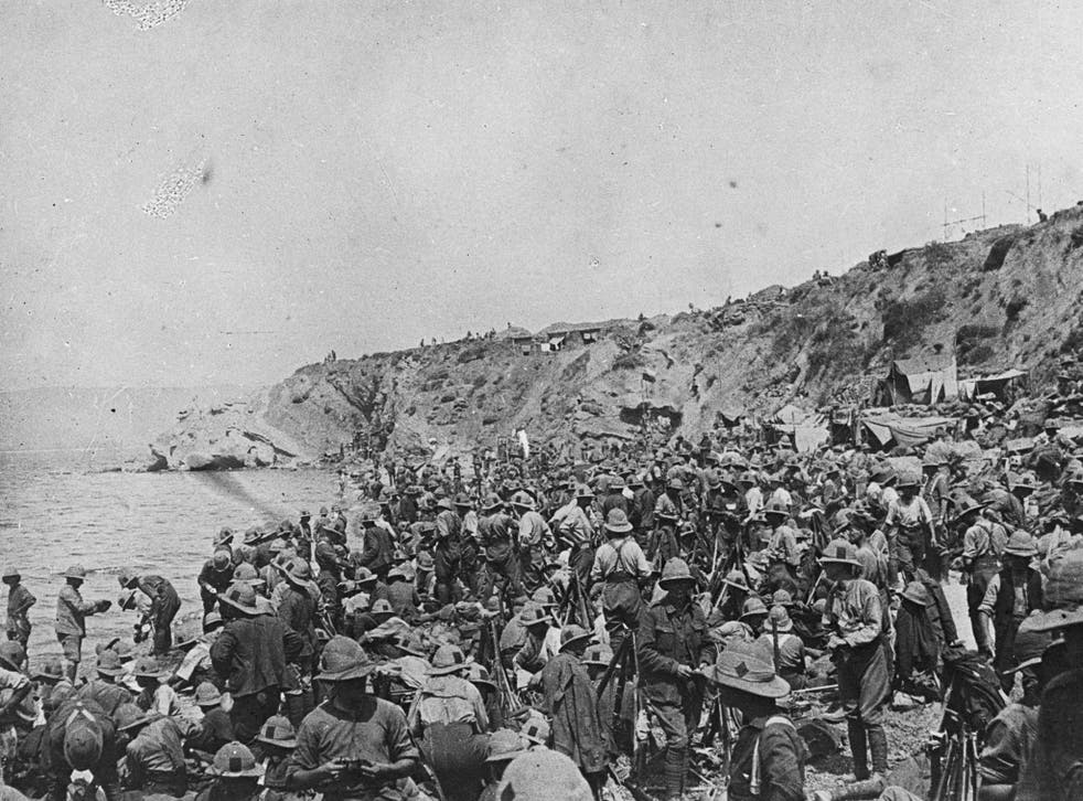 British troops after landing at Suvla on the Aegean coast of the Gallipoli peninsula in Turkey, before the August offensive