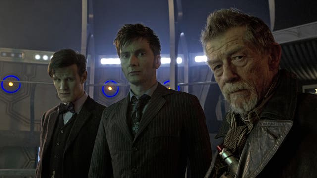 Matt Smith (The Doctor), David Tennant (The Doctor) and John Hurt star in the Doctor Who 50th anniversary episode