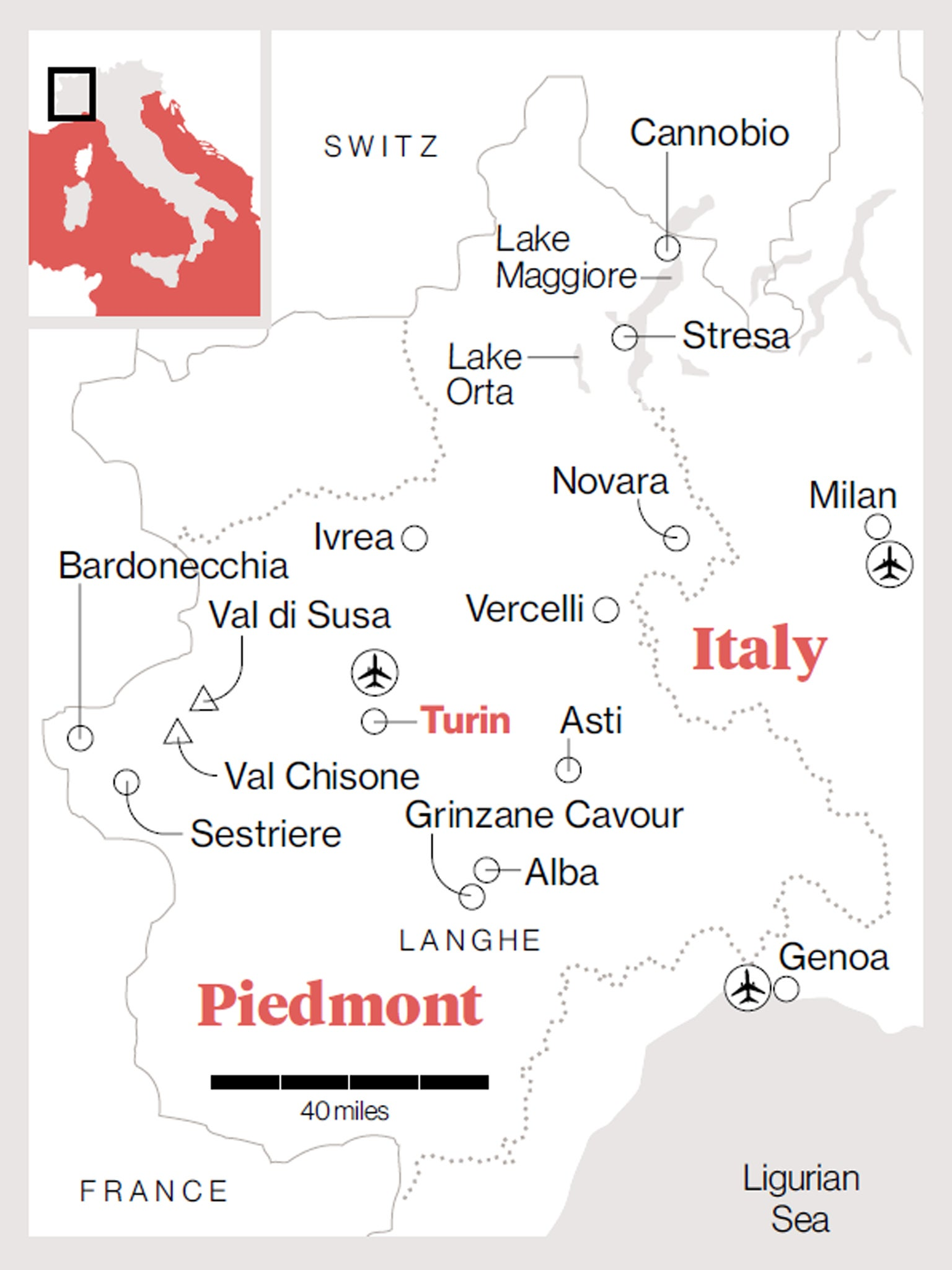 Langhe Italy Map.Traveller S Guide Piedmont The Independent